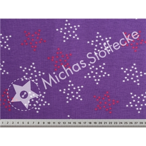 Stretchjersey Little Big Stars lila