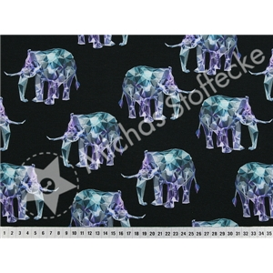 Stretch Jersey Hologram elefant