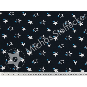 Stretchjersey small and big stars on dark blue