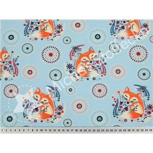 Stretchsweat fox mummy with baby on light blue