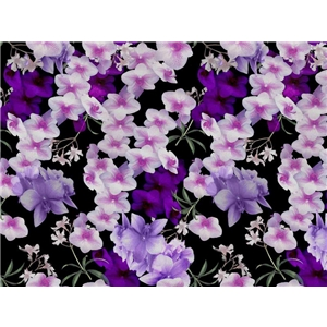 Beautiful Flowers on Black - Viscose