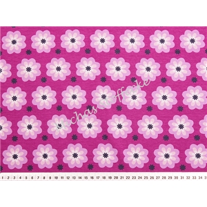 Stretch Jersey Silent - blommor fuchsia